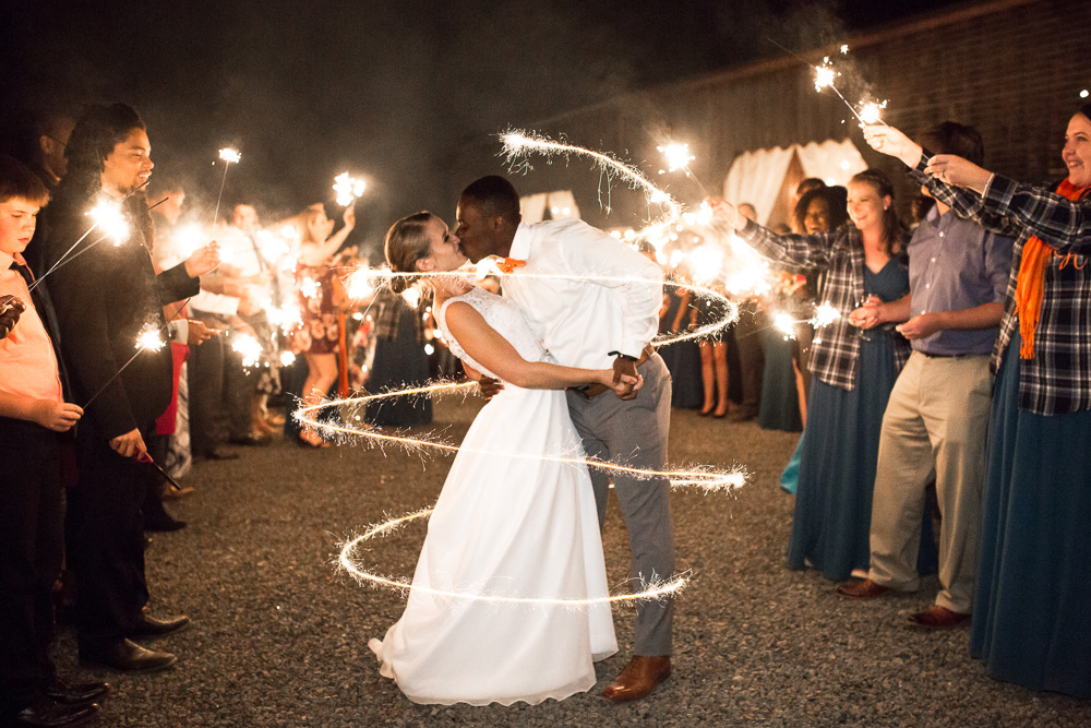 Wedding sparkler exit at Mountain Run Winery, Culpeper Virginia | Best Sparkler Exit Photos | Barn Wedding Venue in Northern Virginia | Megan Rei Photography