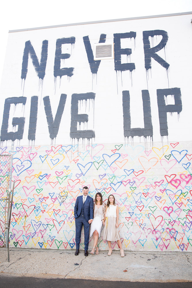 Wedding photos at the Never Give Up mural at Union Market | Washington DC Wedding Photographer | Megan Rei Photography