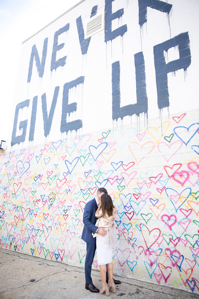 Never Give Up mural at Union Market | Best Places in Washington DC for Wedding Photography | Megan Rei Photography