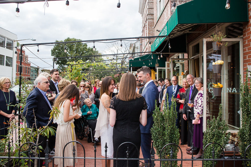 Outdoor wedding ceremony on the patio of Lupo Verde | Best DC Venues for Alternative Weddings