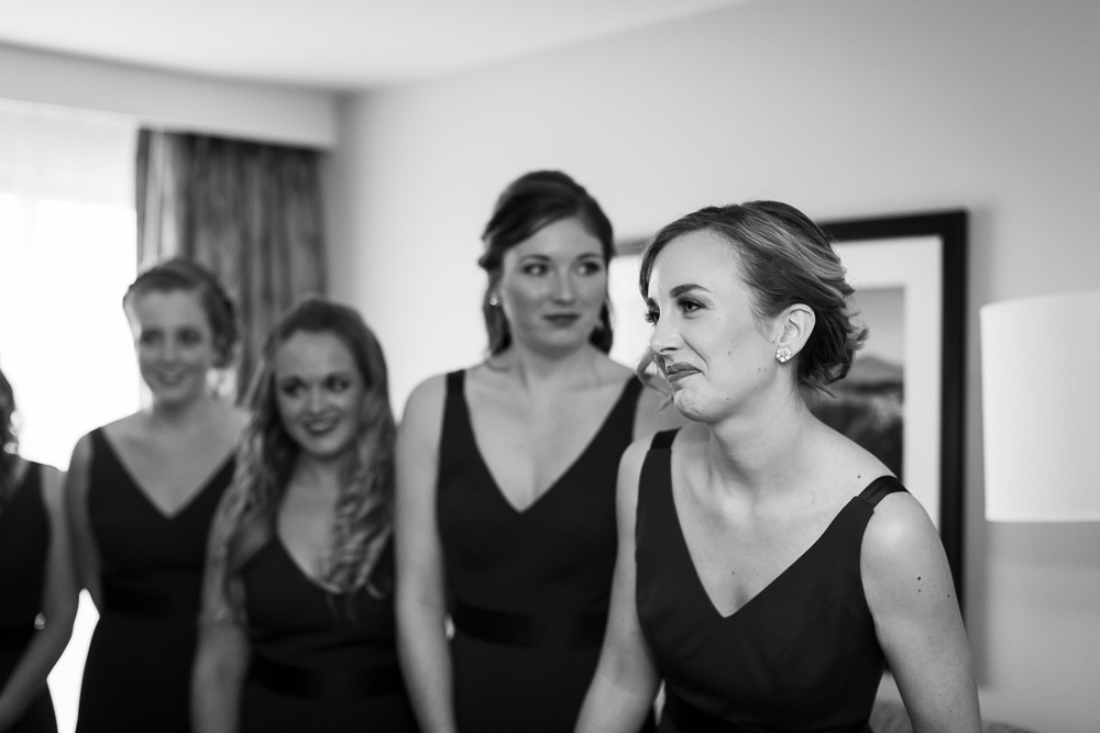 First look with the bride and bridesmaids | Wedding photography at The Strathallan Hotel, Rochester NY