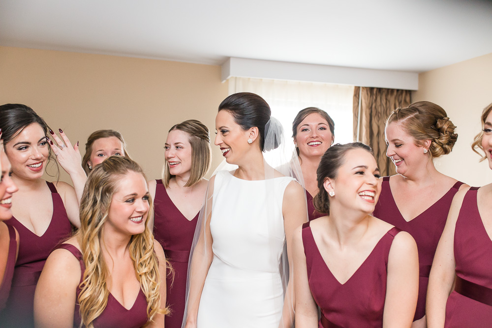 Bride with her bridesmaids | Candid Wedding Photography in Rochester, NY | The Strathallan