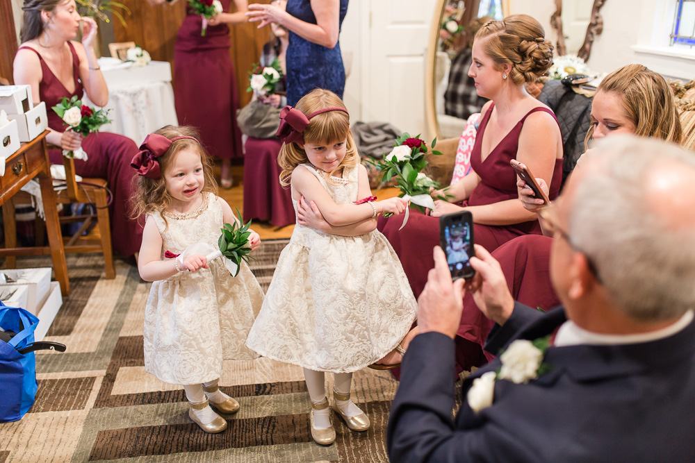 Flower girls posing before the wedding ceremony | Chapel Hill | Candid Wedding Photographer