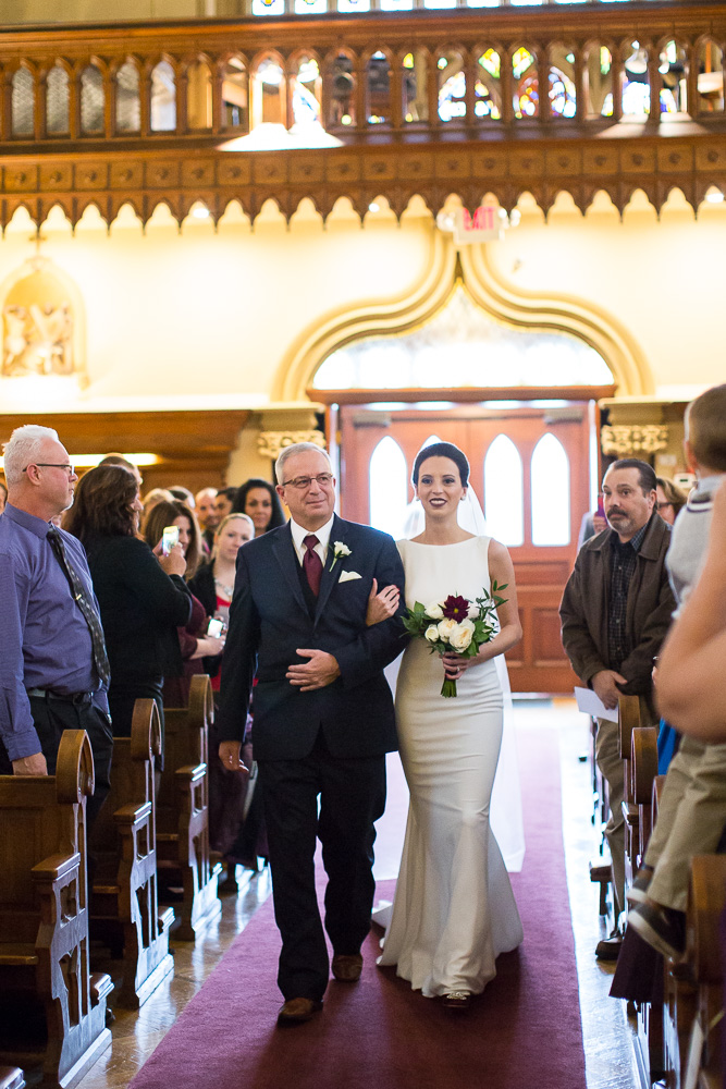 Bride and her father walking down the aisle at Chapel Hill | Documentary Wedding Photography in Rochester NY | Megan Rei Photography