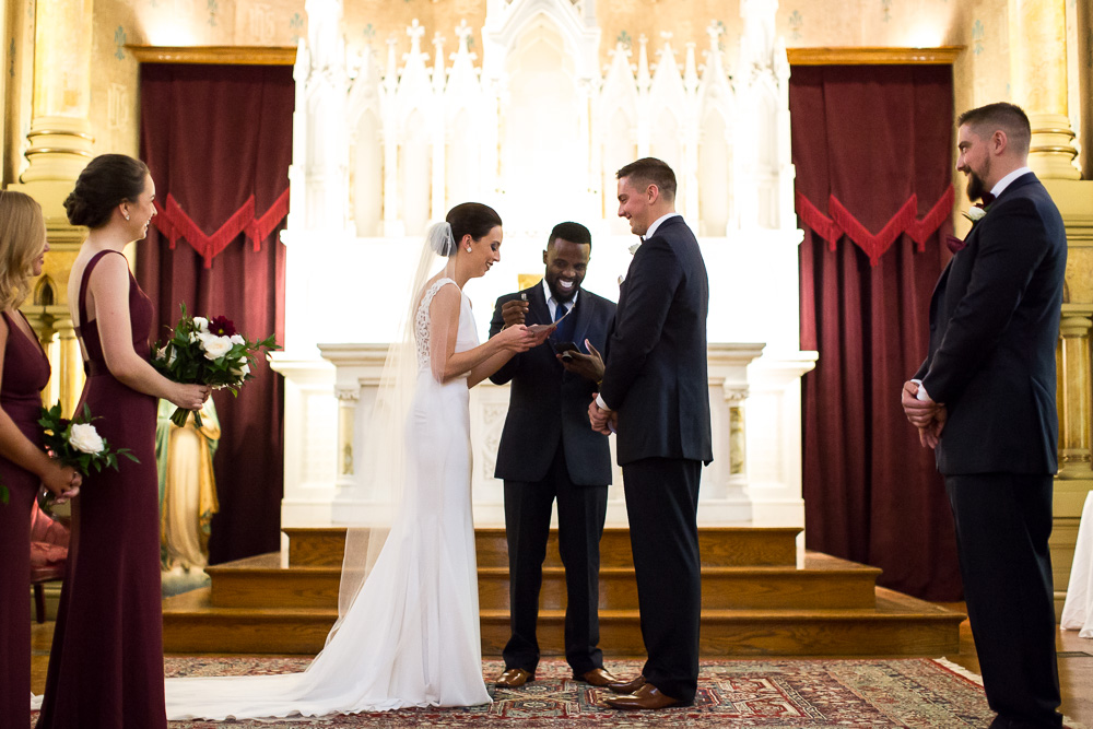 Reading wedding vows | Candid Wedding Photographer in Rochester NY | Chapel Hill Wedding Ceremony