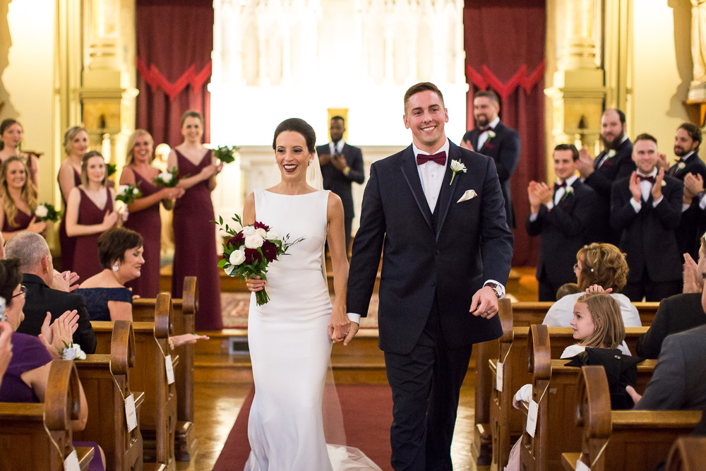 Just married at Chapel Hill, Rochester NY | Candid Wedding Photographer | Navy and Burgundy Fall Wedding Ceremony | Megan Rei Photography