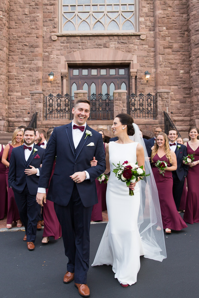 Candid wedding photos | Navy and maroon wedding party in Rochester NY