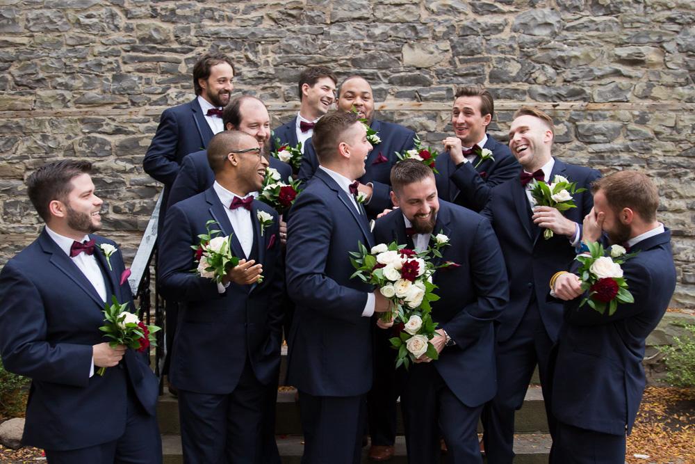 Groomsmen goofing around and having fun | Photojournalistic Wedding Photography in Rochester New York