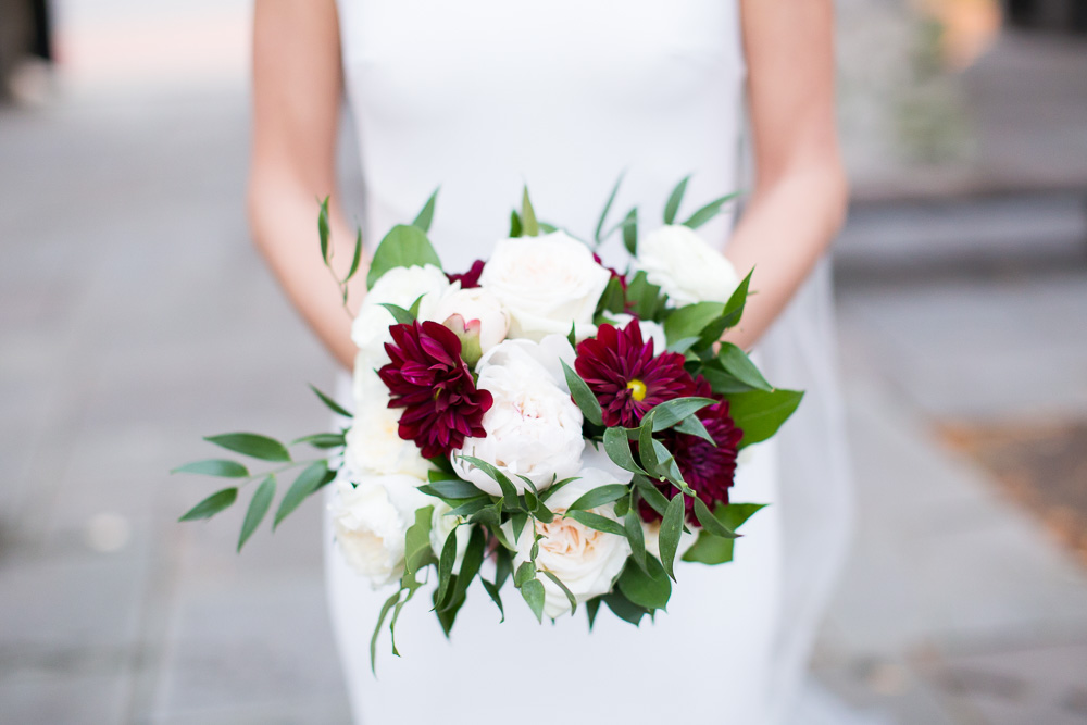 Burgundy and white bridal bouquet by Wegmans Florals | Best Wedding Florists in Rochester, NY