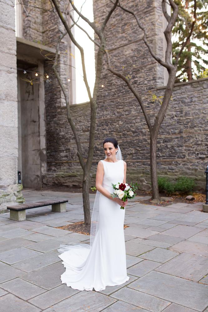 Bridal portrait at St. Joseph's Park | Dress by Pronovias at Silk Bridal Boutique in Rochester, NY | Bridal Bouquet by Wegmans Florals