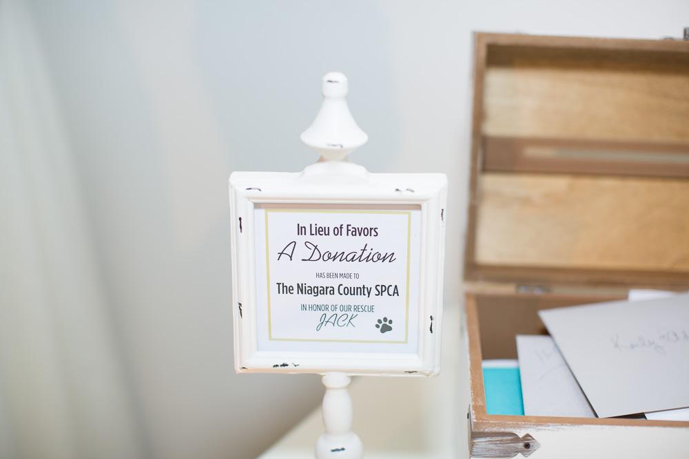 Donation to SPCA in lieu of wedding favors | Arbor Loft Wedding