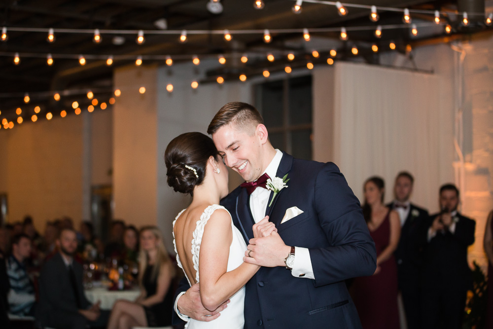Wedding reception at The Arbor Loft | Bride and groom on the dance floor | Rochester NY Wedding Photographer