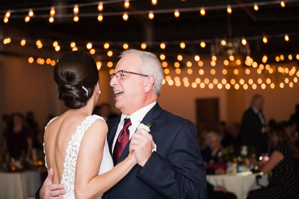 Father-daughter dance at Rochester, NY Wedding reception | Arbor Loft | Megan Rei Photography