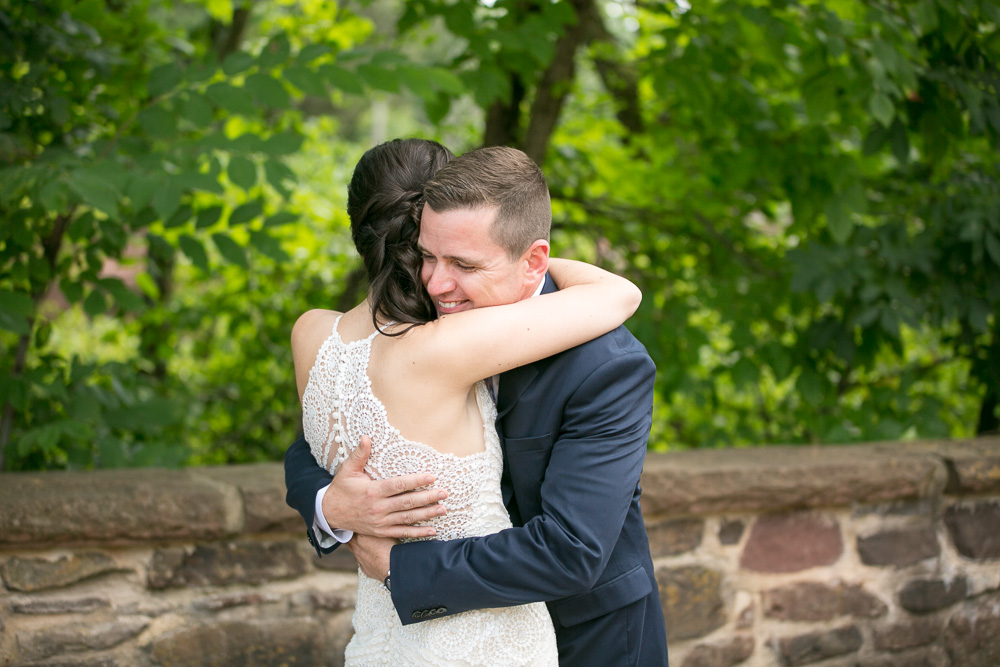 Bride and groom hugging during their First Look photos in Northern Virginia