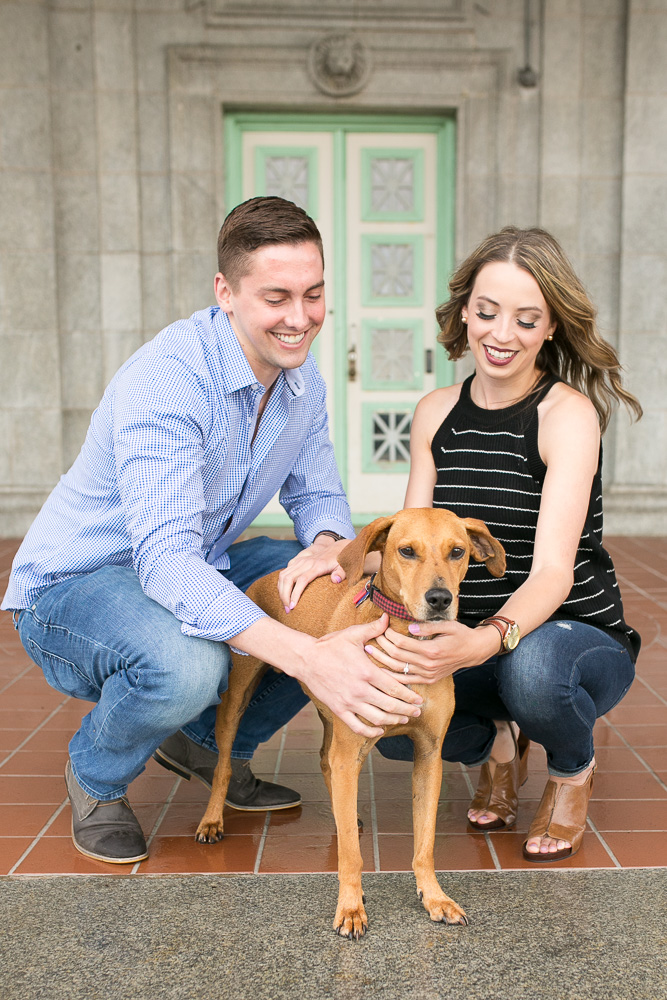 Engaged couple with their dog | Wedding Photographer in Bealeton, Virginia