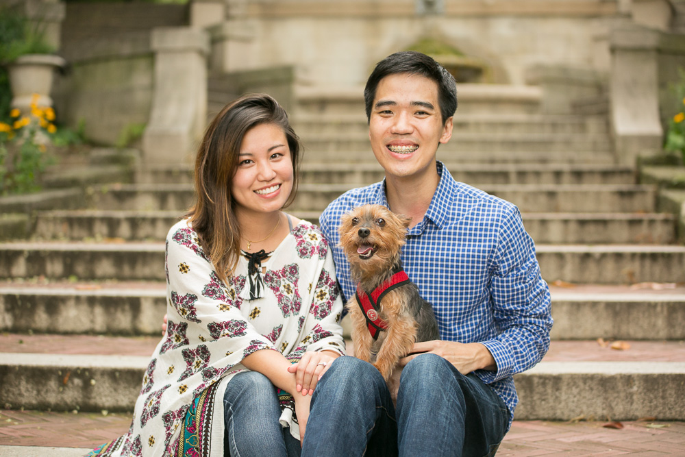 Happy couple with their Yorkie | Northern Virginia Pet and Wedding Photographer