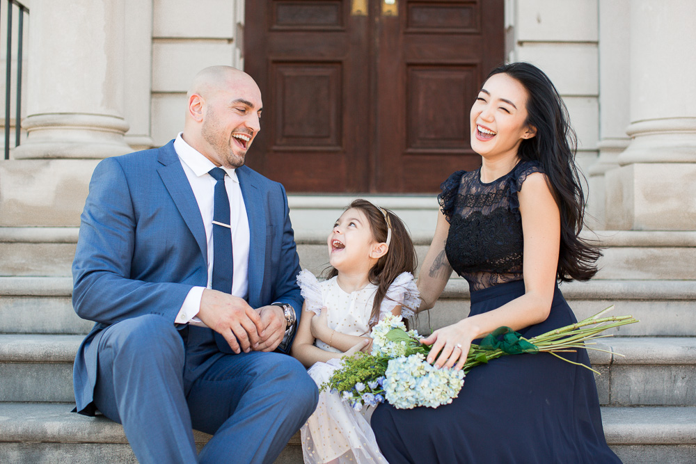 Candid family photo on the front steps of the Great Marsh Estate, Bealeton Virginia | Northern Virginia Manor Wedding Venue | Bealeton Wedding Photographer