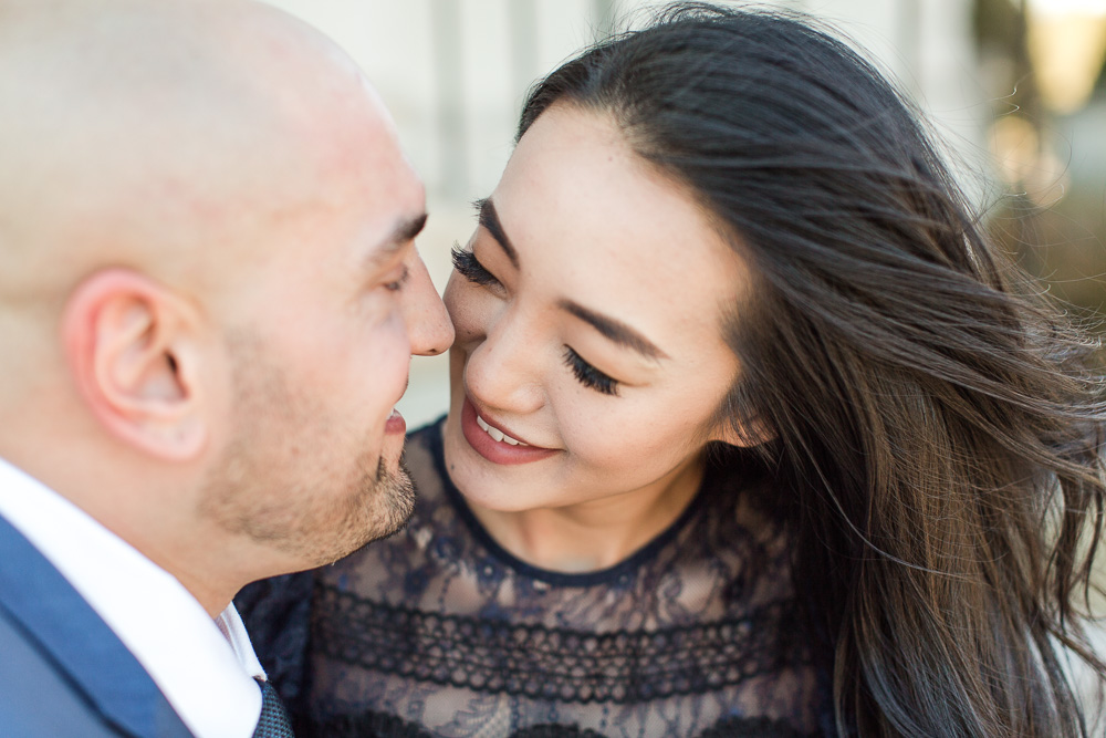 Leaning in for a romantic kiss | Bealeton Wedding and Engagement Photographer | Bealeton, VA