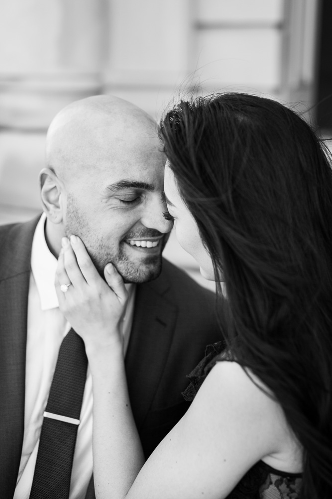Romantic black and white engagement photo of bride holding groom's cheek | Northern Virginia Engagement Photographer