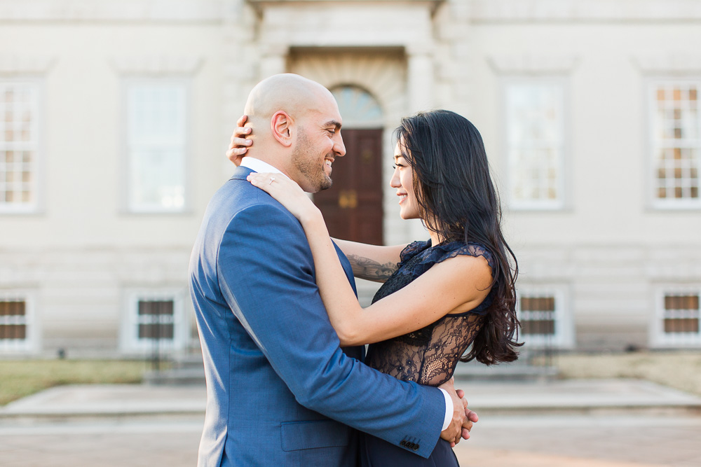 Engagement photos in front of the Great Marsh Estate in Bealeton, VA | Dress by ASOS | Suit by Hugo Boss