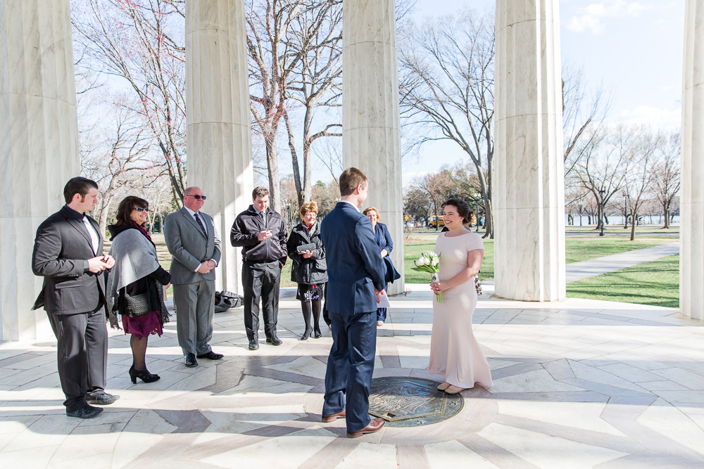 Intimate wedding ceremony at DC War Memorial | DC Small Wedding Photographer
