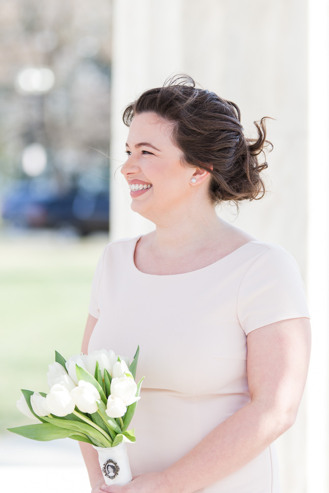 Smiling bride during her wedding at the DC War Memorial | Bridal hair by Franz Sebastian Salon | Makeup by BW Lash Studio