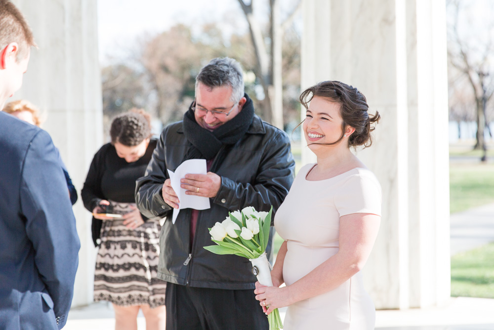 Father of the bride reading a funny poem during the ceremony | DC War Memorial Wedding
