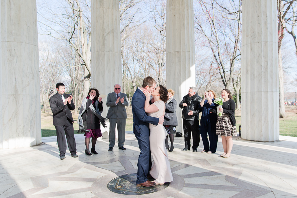 The first kiss | DC War Memorial Wedding Photography | Washington, DC