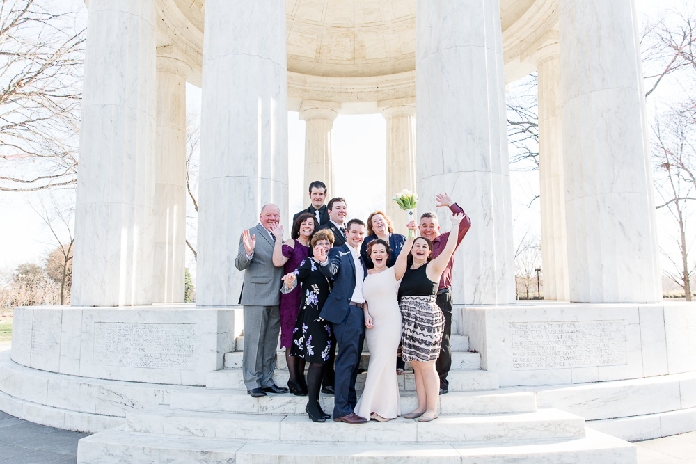 Family photo after the wedding on the steps of the DC War Memorial | DC Monuments Wedding