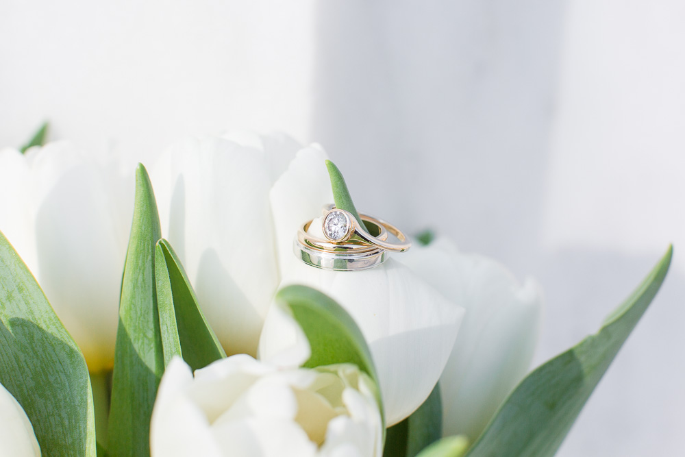 Unique wedding ring with diamond from the bride's mother's ring | Ring designed by Alexandria & Company, Jeweler in Alexandria, VA