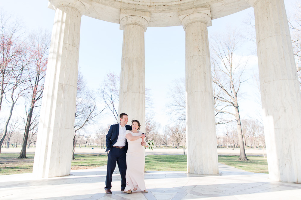 Dancing in the DC War Memorial | Blush and navy wedding color palette | DC War Memorial Candid Wedding Photography | Megan Rei Photography