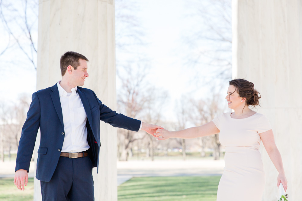 Dancing in the DC War Memorial | Blush and navy wedding color palette | DC War Memorial Wedding Venue