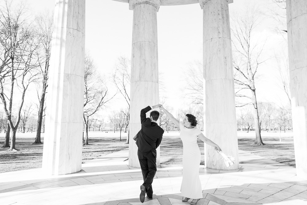 Dancing in the monument | Fun wedding photos in Washington, DC | DC Elopement Photography