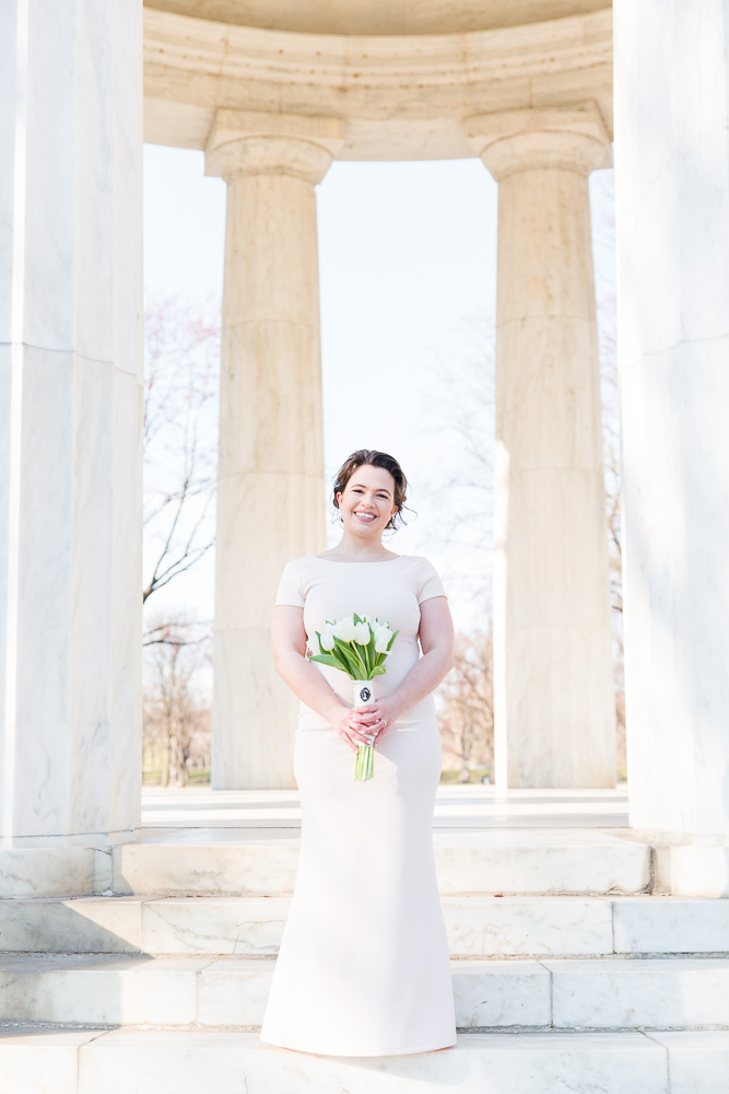 Bridal portrait on the steps of the DC War Memorial | Hair by Franz Sebastian Studio | Makeup by BW Lash Studio