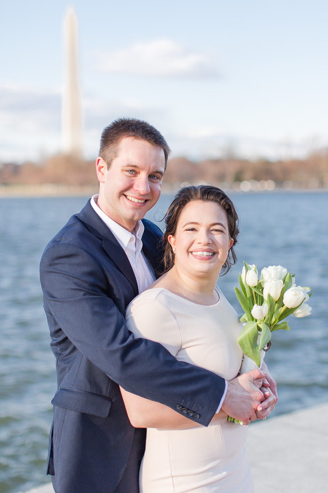 Wedding photos at the Tidal Basin with the Washington Monument in the background | DC Wedding Photo Locations
