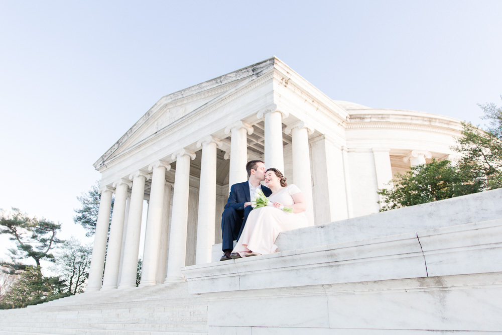 Bride and groom in front of the Thomas Jefferson Memorial | Best Locations in DC for Wedding Pictures | Megan Rei Photography