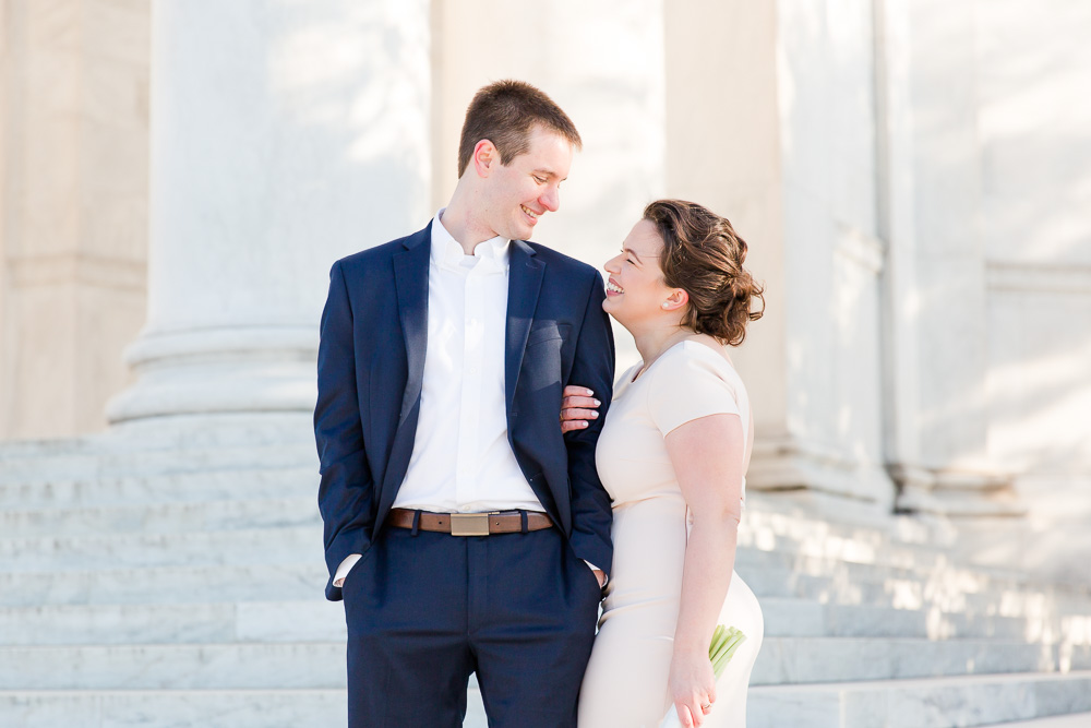 Happy couple on their wedding day | Thomas Jefferson Memorial Wedding Pictures | Best Spots for Wedding Pictures in DC | Megan Rei Photography