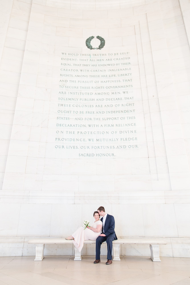 Wedding photos at the Jefferson Memorial | Best DC Elopement Locations | Megan Rei Photography