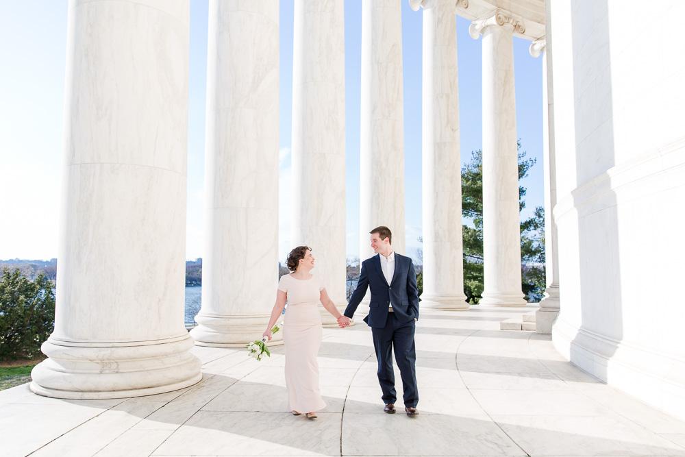 Wedding couple walking through the Jefferson Memorial | Washington DC Monuments Wedding Photographer | Megan Rei Photography