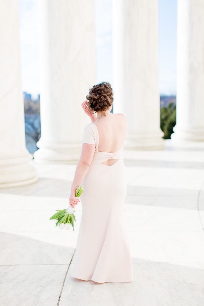 Bridal portrait at the Jefferson Memorial in Washington, DC | Blush wedding dress from Lulus.com