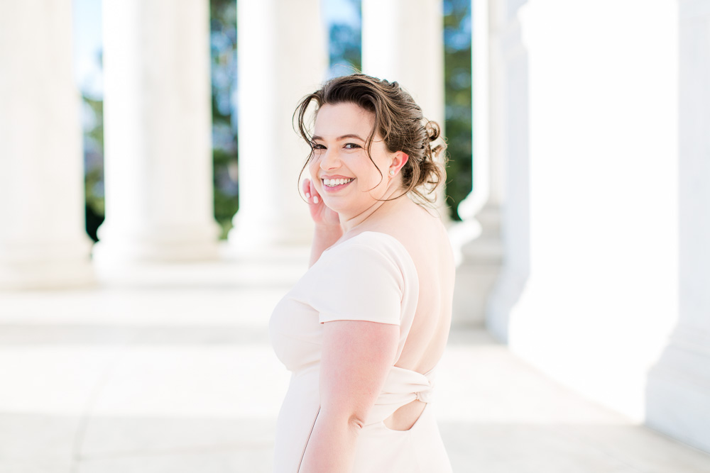 Smiling bride at the Jefferson Memorial | Best Wedding Photo Locations in Washington, DC | Megan Rei Photography
