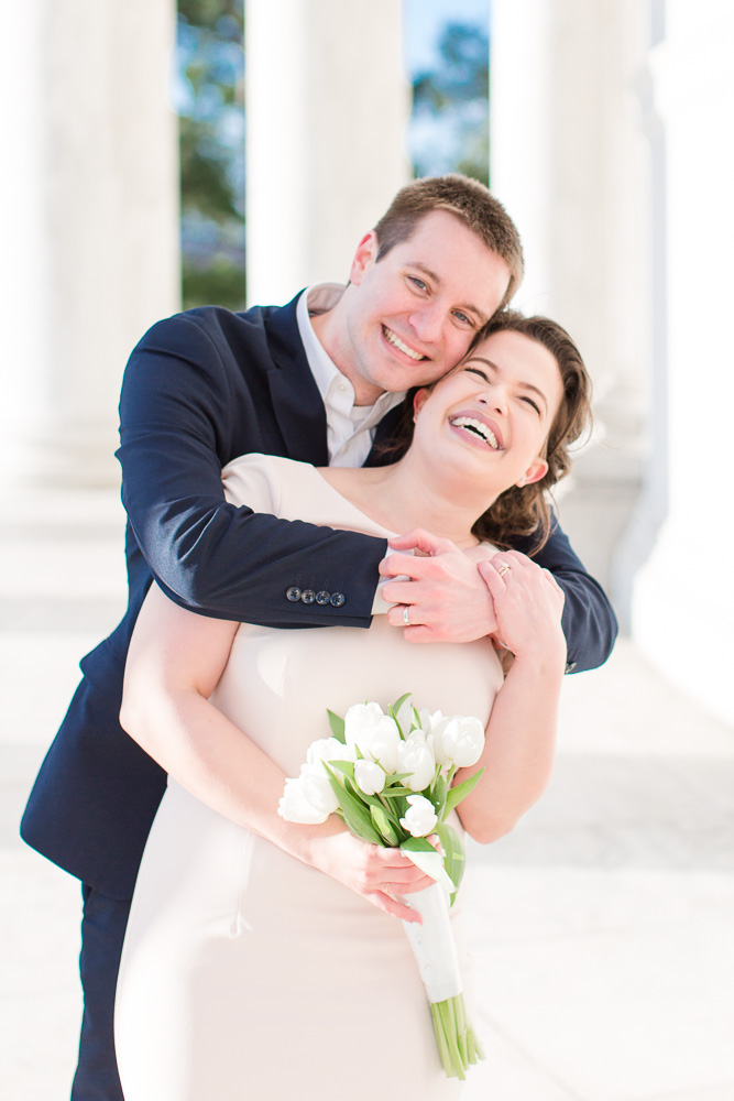 Happy bride and groom at the Jefferson Memorial | Candid Elopement Photographer in Washington, DC