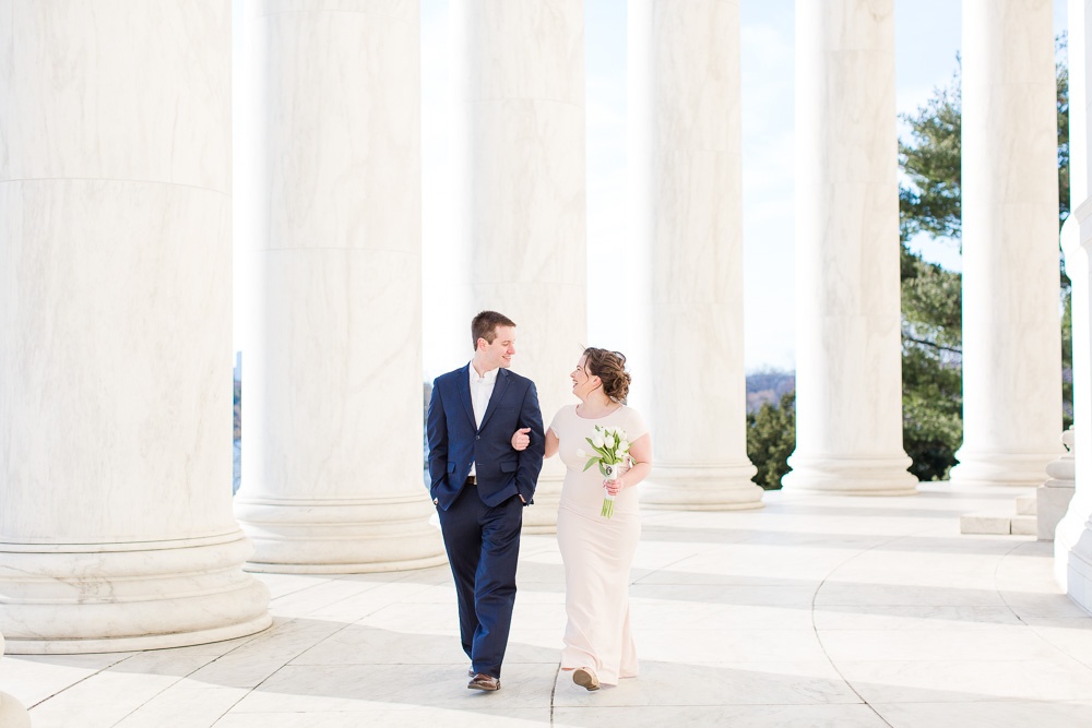 Bride and groom wedding photos at the Jefferson | Washington DC Elopement Photographer
