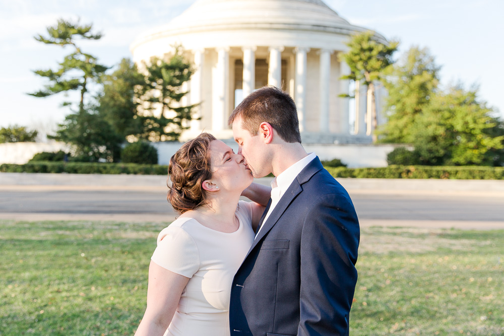 Bride and groom wedding photos at the Jefferson Memorial | Washington DC Monuments Wedding