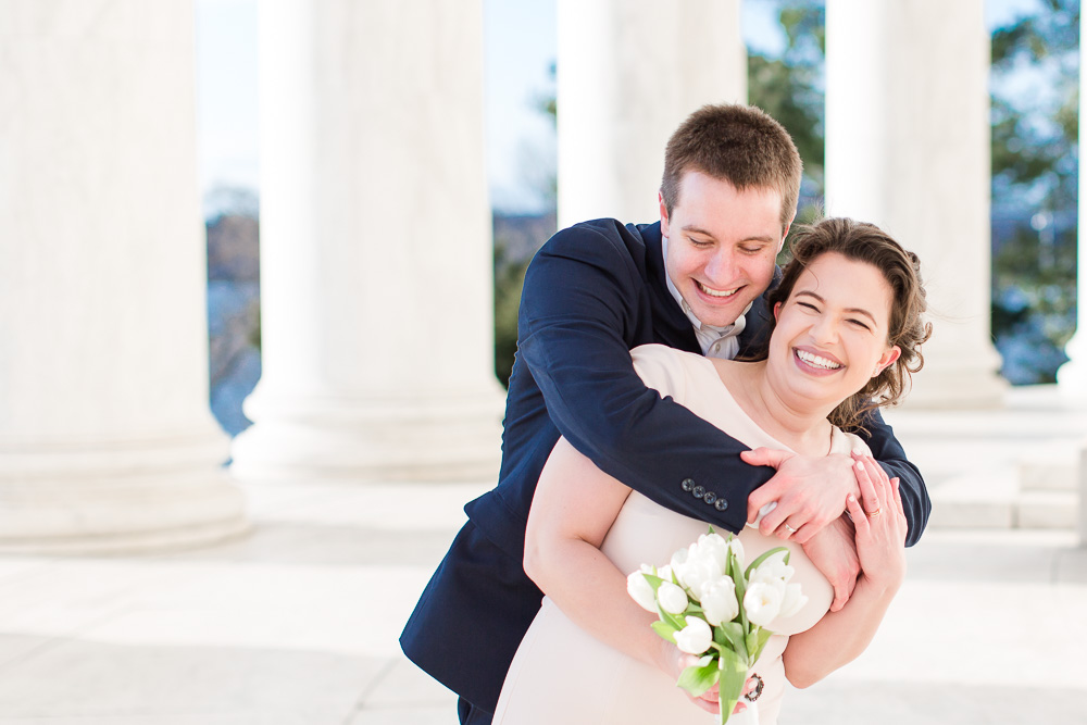 Candid photo of bride and groom at the Jefferson Memorial | DC Monument Wedding Photography | Megan Rei Photography | DC Candid Photographer
