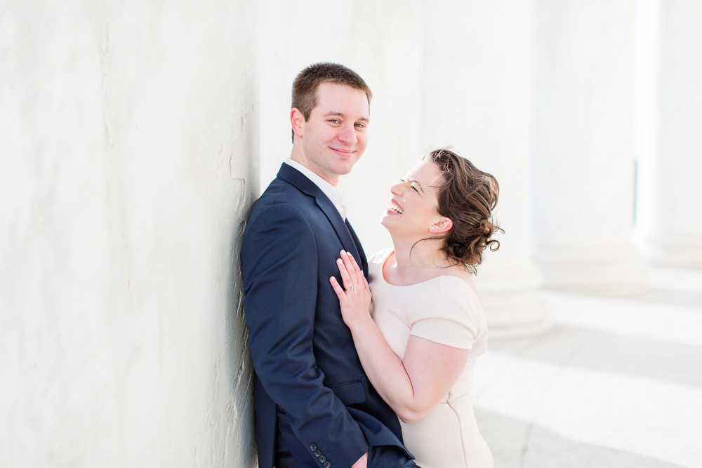 Happy bride and groom at the Jefferson Memorial | Candid Wedding Photography in Washington, DC | Best Places in Washington, DC for Wedding Pictures