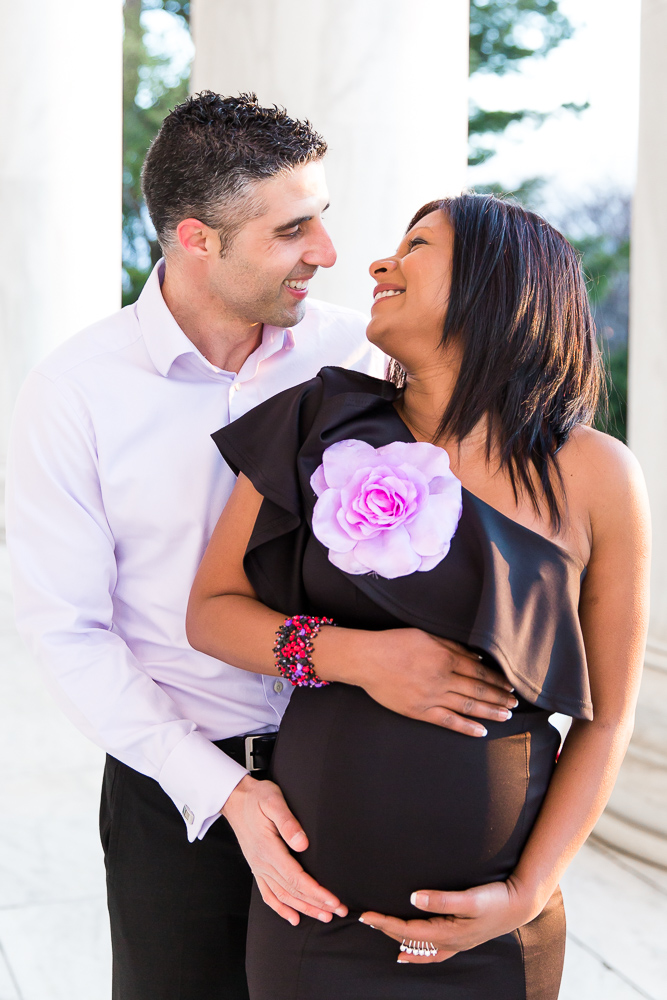 Happy couple who are soon to be parents | DC Monuments Maternity Session