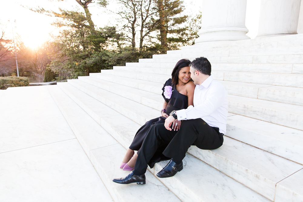 Sitting on the steps of the Jefferson Memorial | Washington DC Maternity Photos | Megan Rei Photography