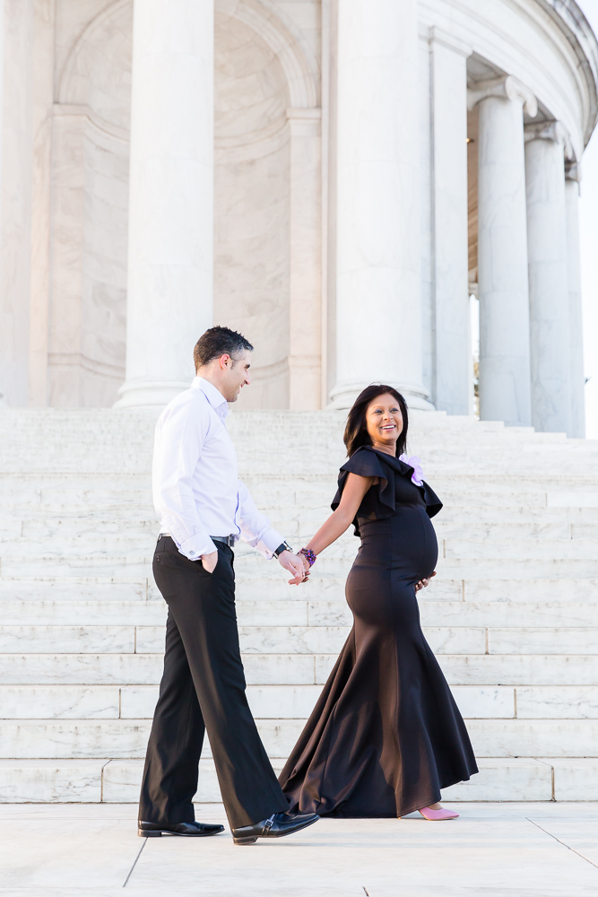 Walking along the steps of the Jefferson | Candid DC Maternity Photography