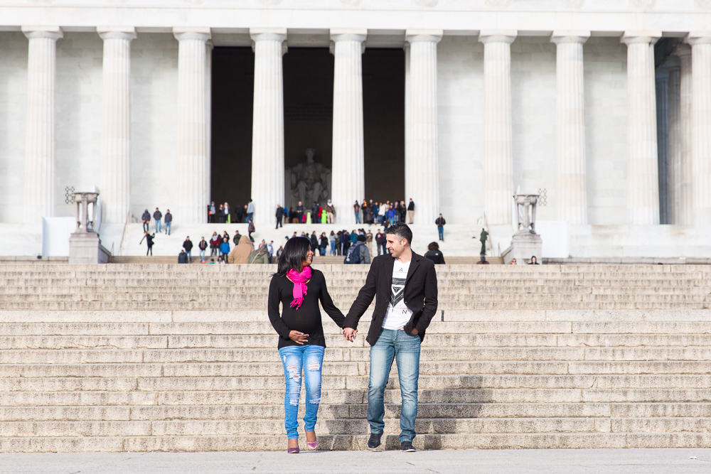 Walking down the steps of the Lincoln Memorial during a maternity session | Candid DC and Northern Virginia Photographer